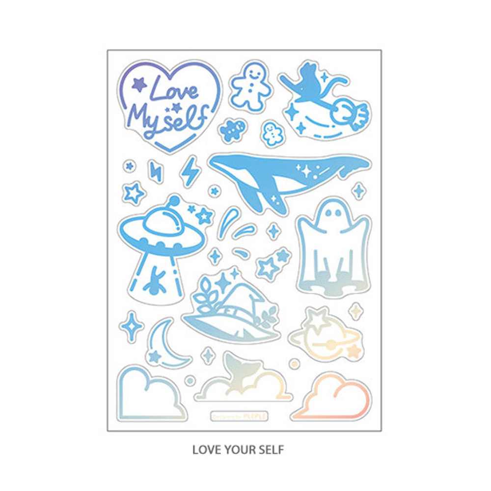 Love myself - PLEPLE Coated hologram clear decoration sticker