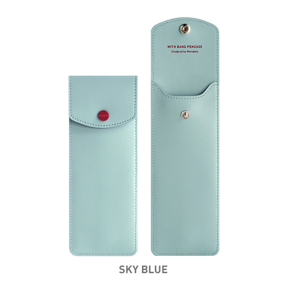 Sky blue - Monopoly Snap button pen case with elastic band holder ver.3