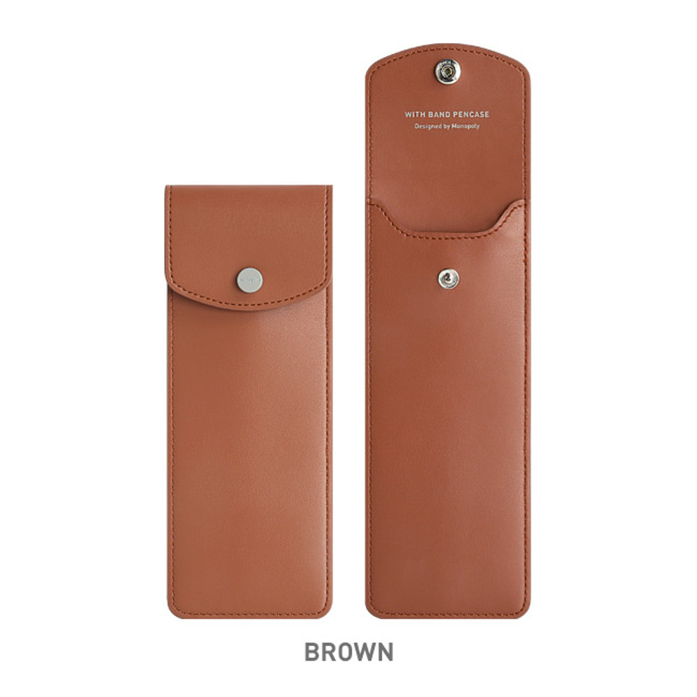 Brown - Monopoly Snap button pen case with elastic band holder ver.3