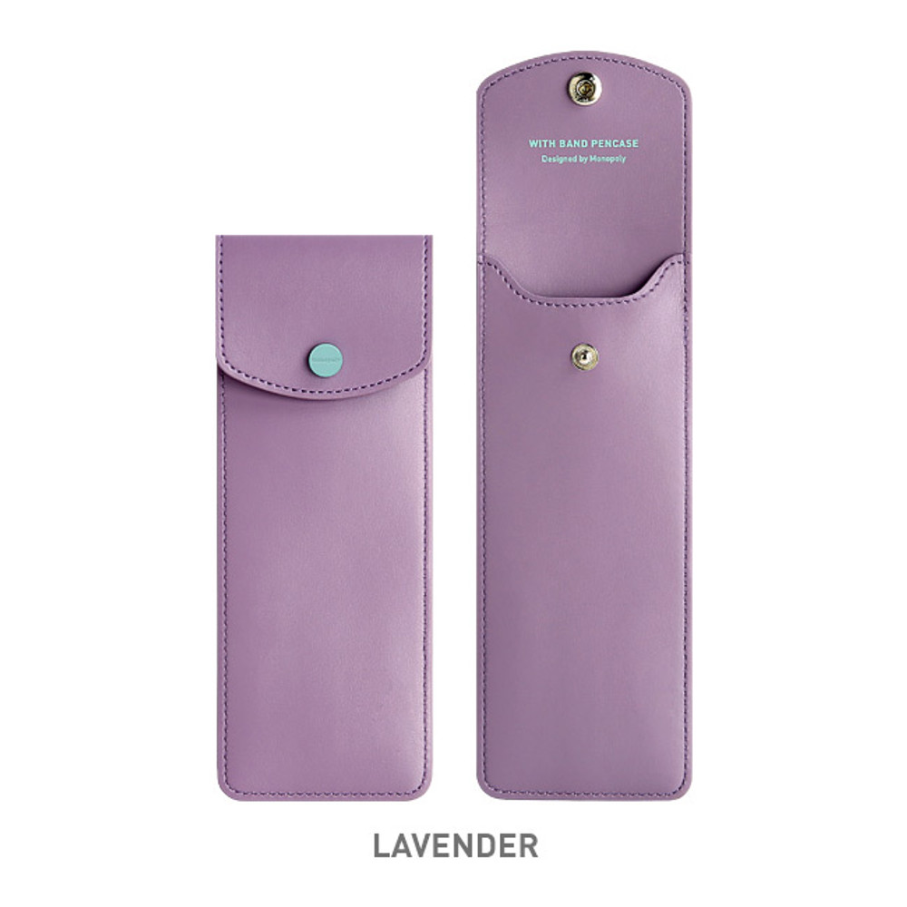 Lavender - Monopoly Snap button pen case with elastic band holder ver.3