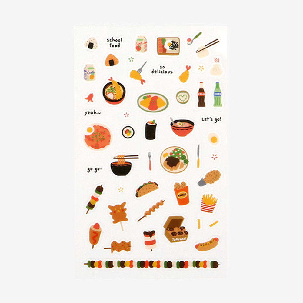 Daily transparent deco cute sticker - School food
