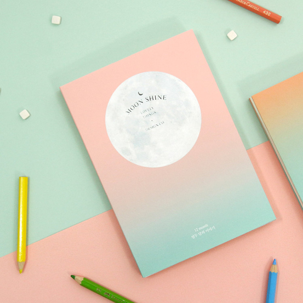 Coral-Mint - Second Mansion Moon shine dateless weekly diary planner