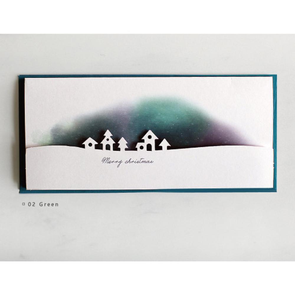 Green - DBD Aurora Christmas card with envelope