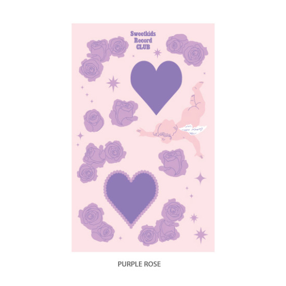 Purple rose - After The Rain Heart room water resistant paper sticker
