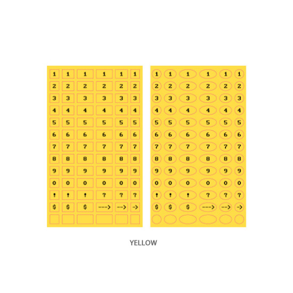 Yellow - After The Rain 8-bit number paper sticker set
