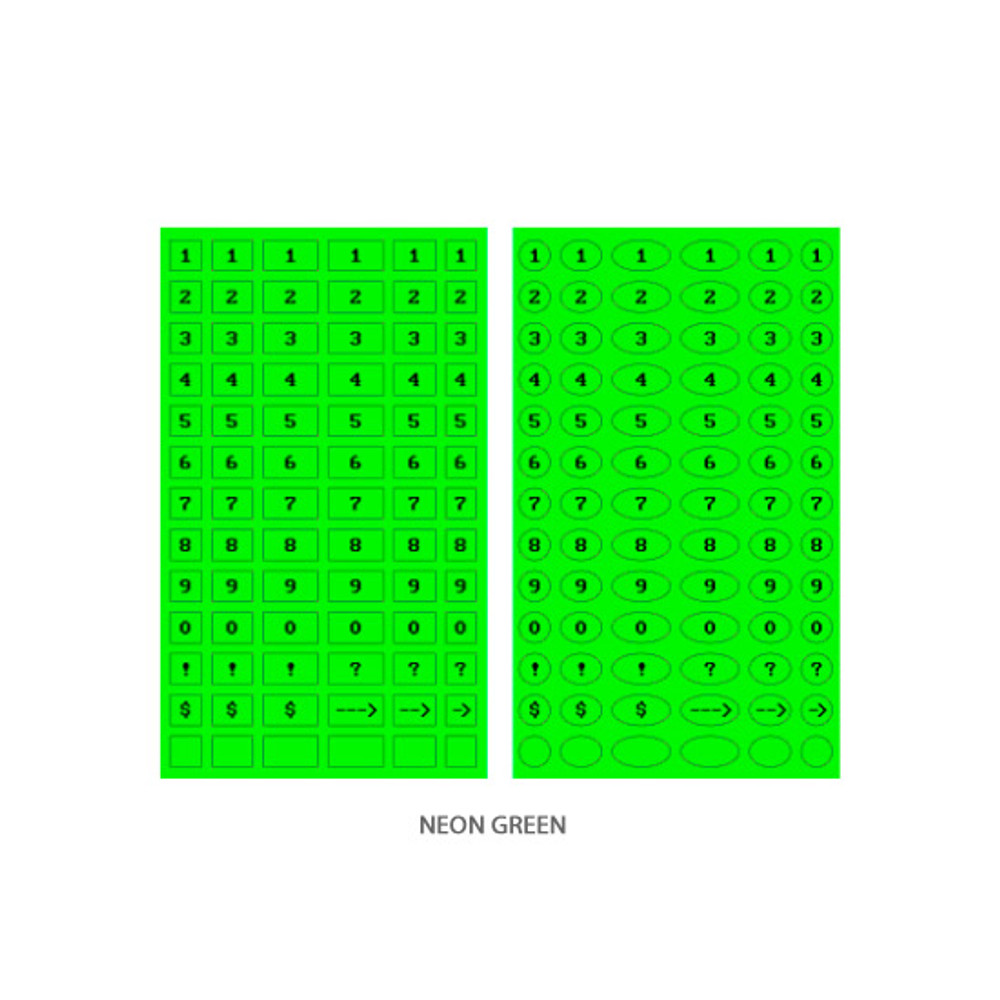 Neon green - After The Rain 8-bit number paper sticker set