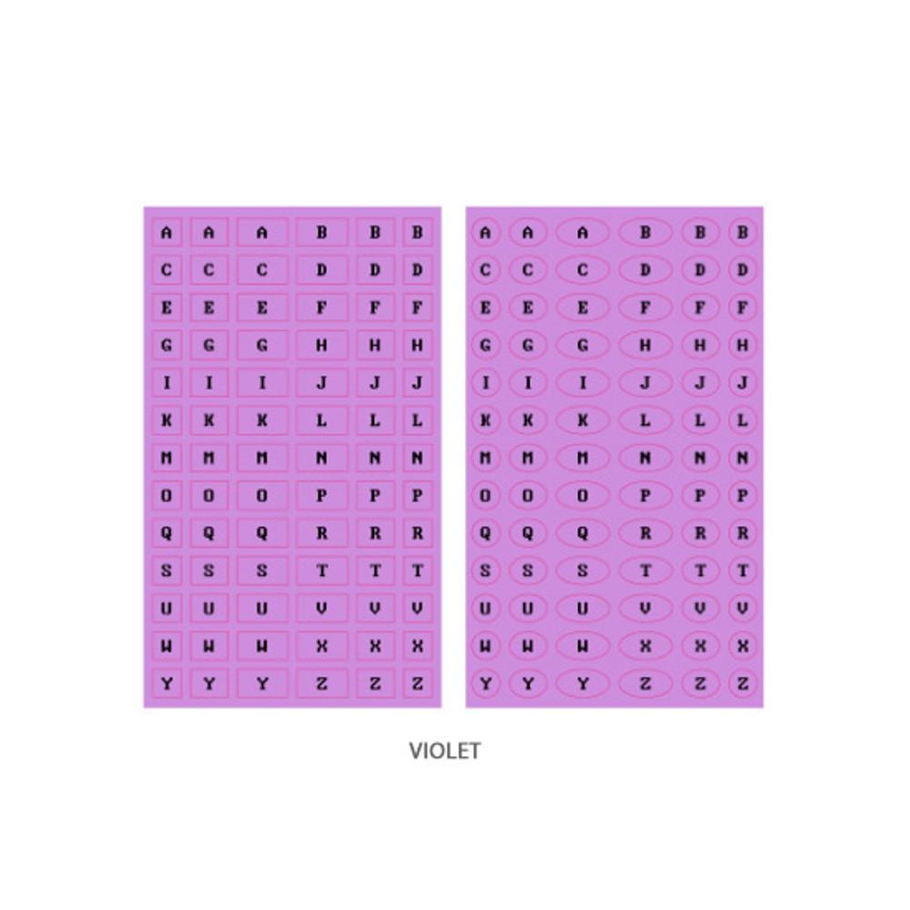 Violet - After The Rain 8-bit alphabet paper sticker set