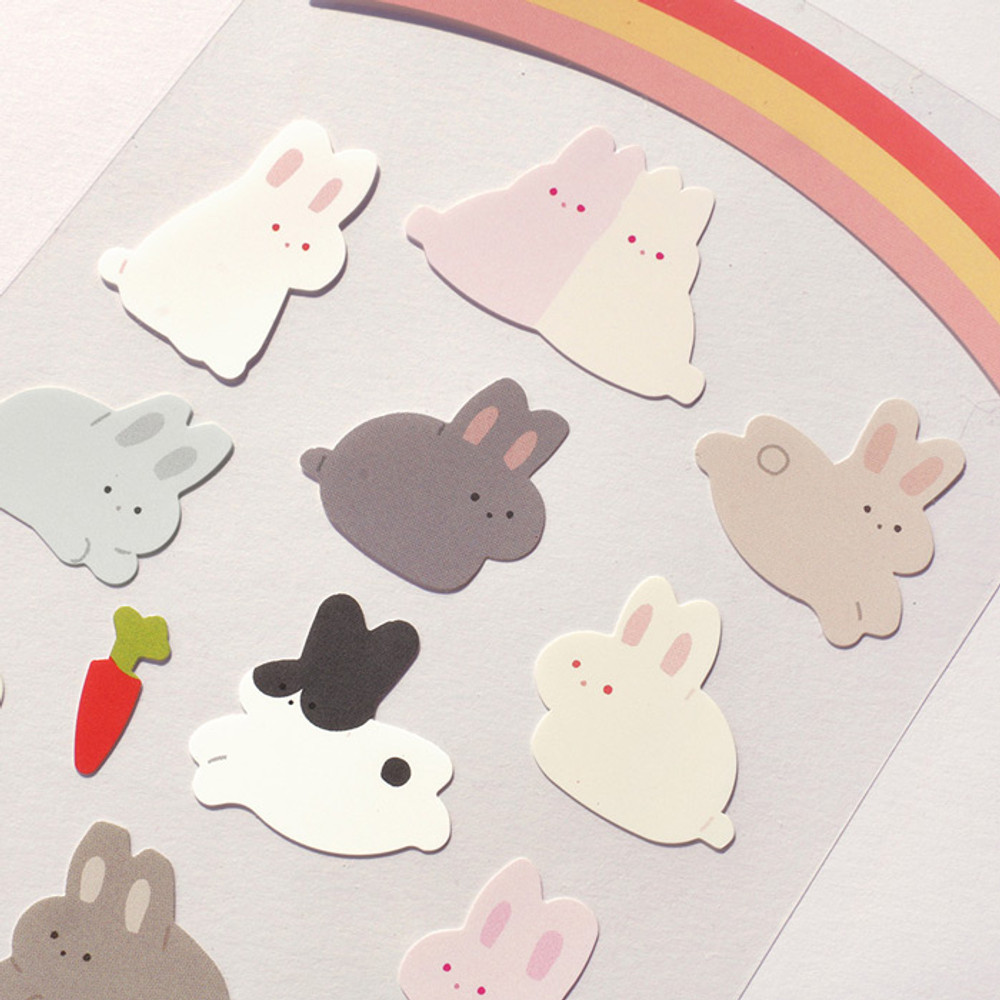 Usage example - After The Rain Bear and rabbit paper sticker