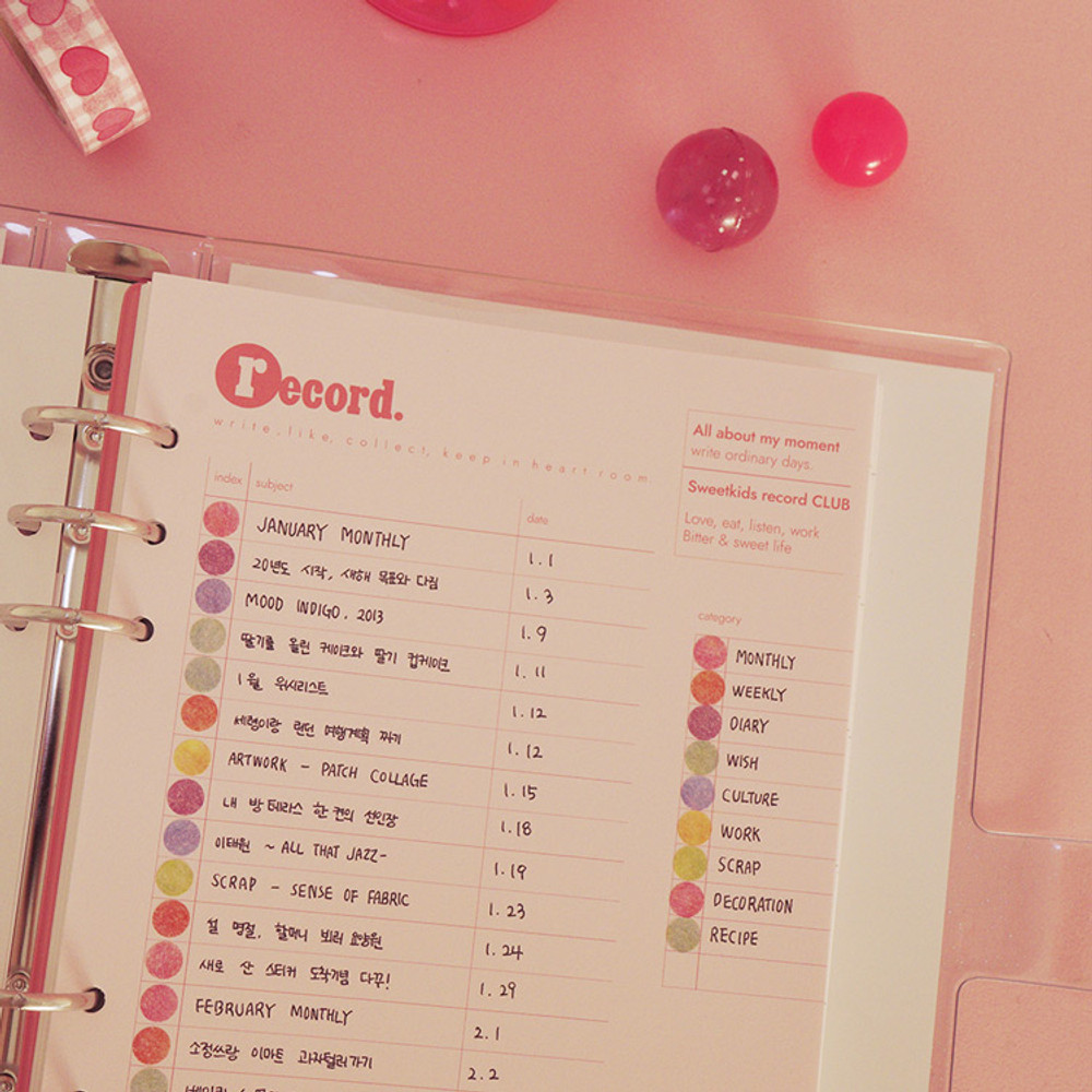 After The Rain Heart room 6-ring dateless monthly planner