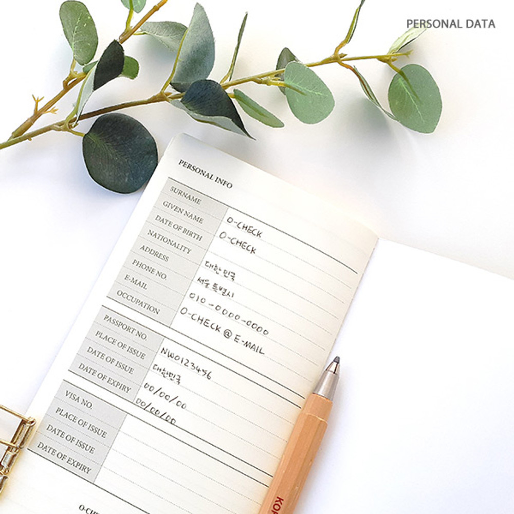 Personal data - O-CHECK Travel planner journal notebook
