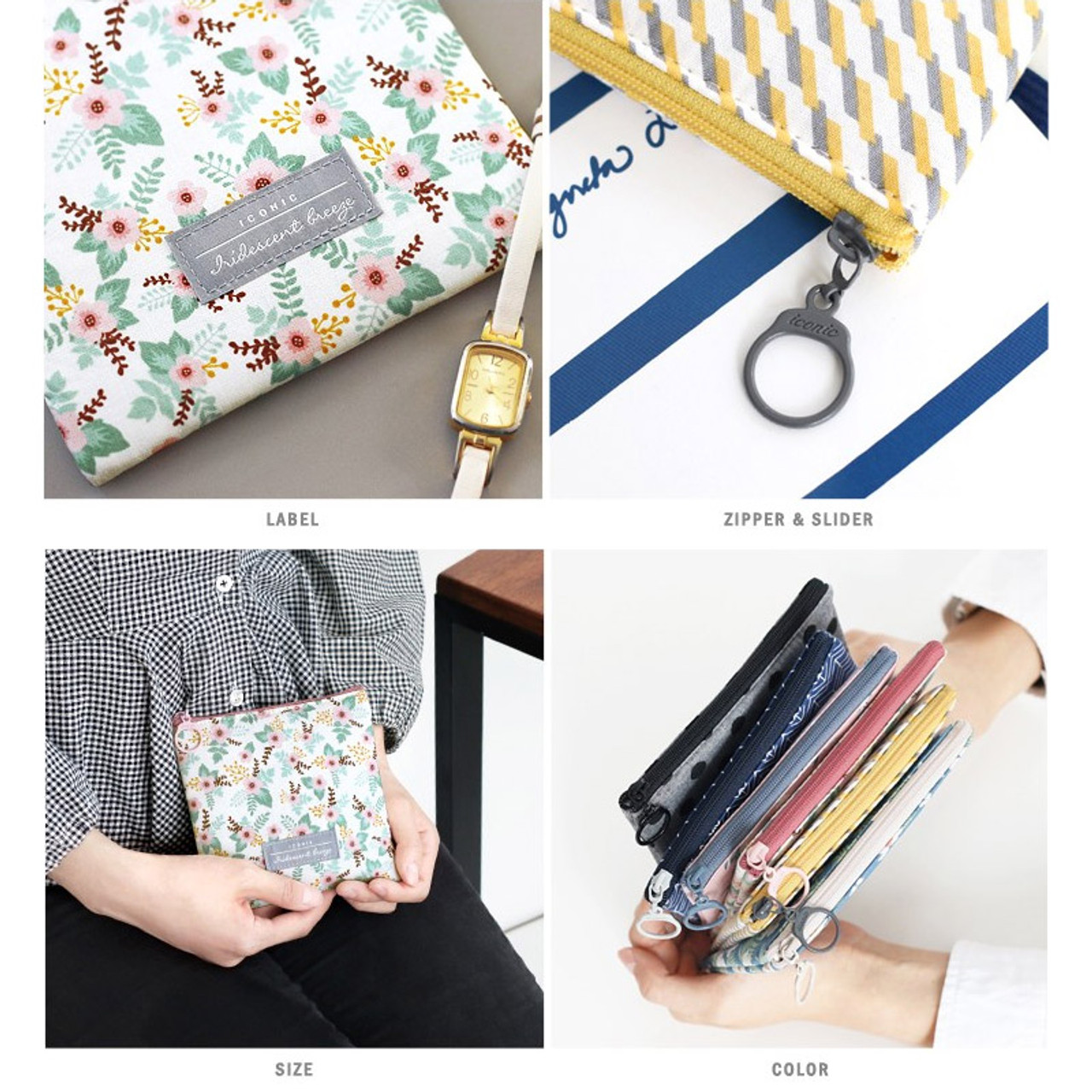 Iconic Comely pattern small flat zipper pouch - fallindesign.com 4ee1e48f0d7a2