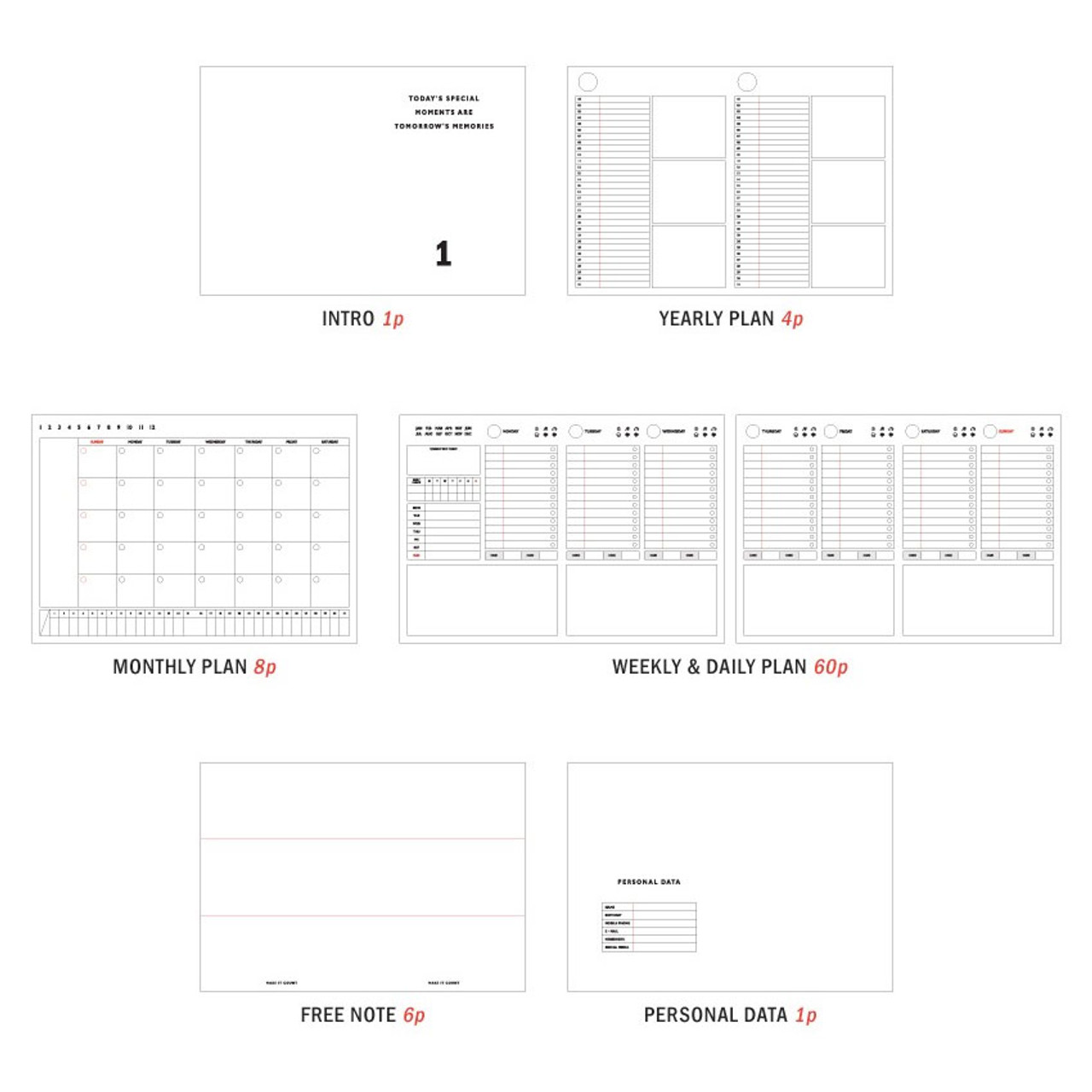 iconic becoming 3 month undated planner scheduler fallindesign