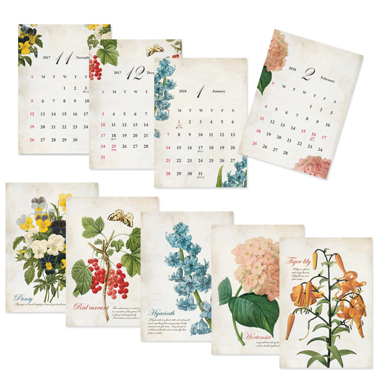 Wanna This 2018 Vintage Flower Spiral Bound Small Desk Calendar