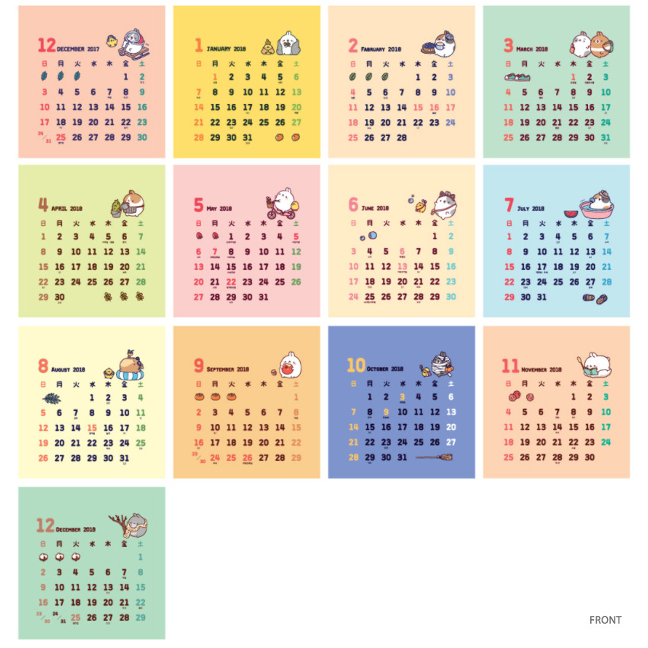 Bookcodi 2018 Molang Illustration Spiral Bound Small Desk Calendar