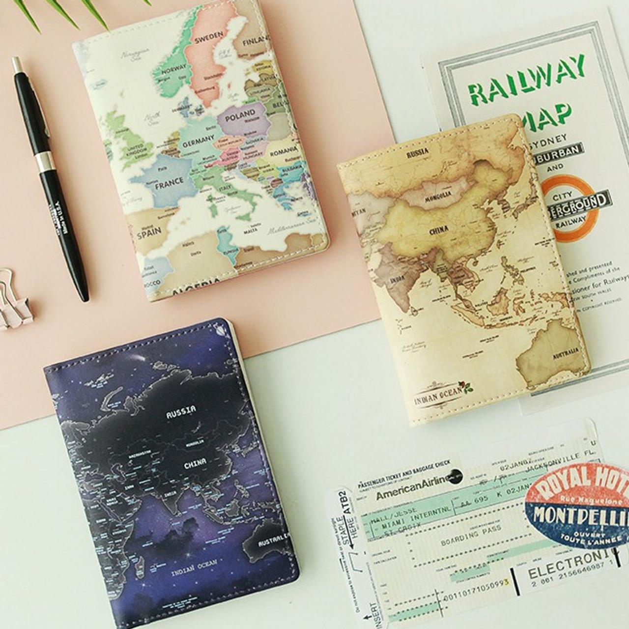 World Map Passport Holder.Indigo World Map Pattern Passport Cover Case Holder Fallindesign