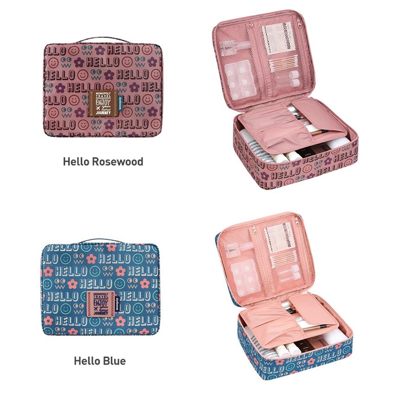 Monopoly Enjoy journey travel large multi pouch bag packing organizer.  Alphabet beige d8c96539174e3