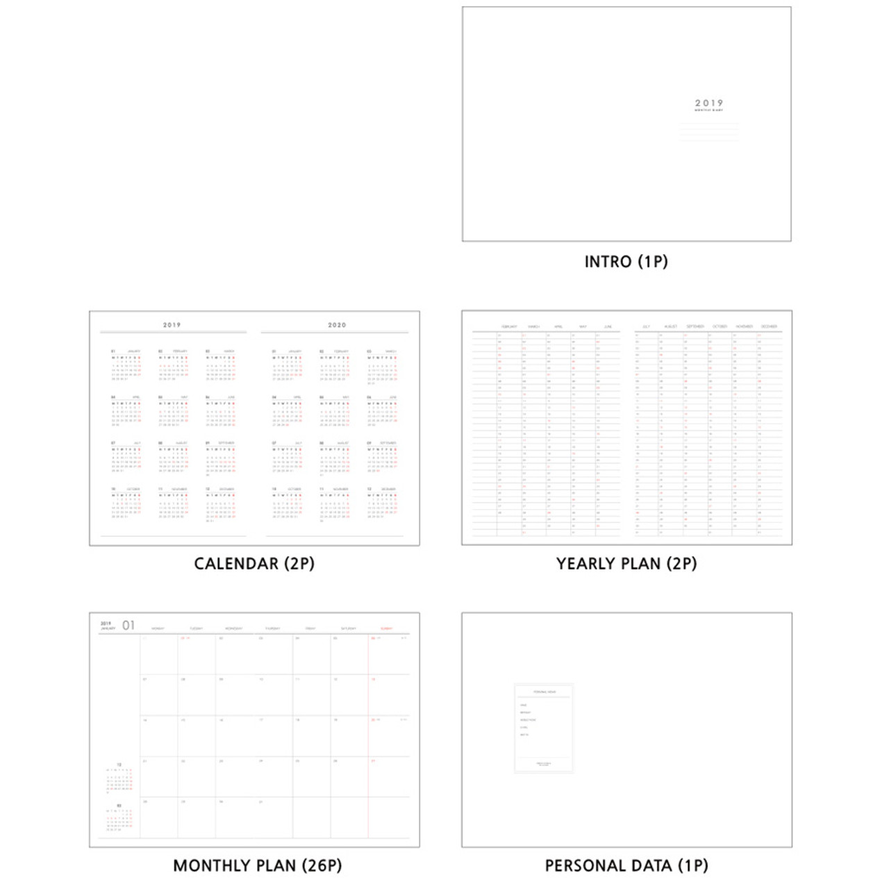 2019 simple and dot a4 size dated monthly planner scheduler