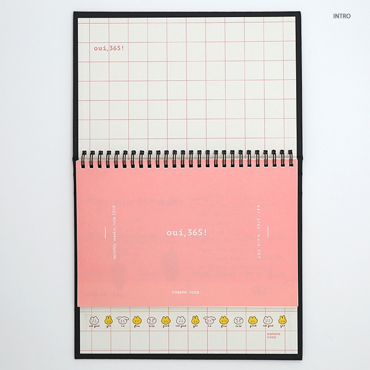 Romane 2019 Oui 365 Spiral Dated Weekly Desk Planner Diary