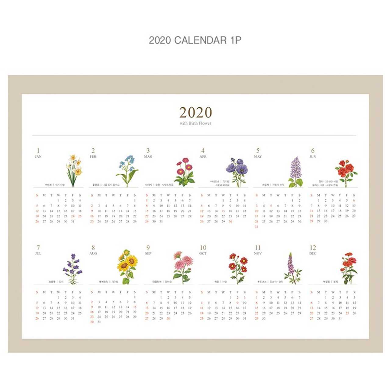 2019 Birth Flower Spiral Monthly Desk Scheduler Calendar