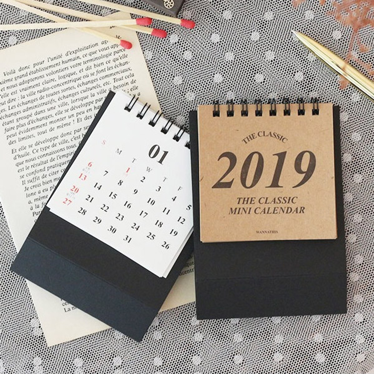 Wanna This 2019 Classic Small Spiral Bound Desk Calendar
