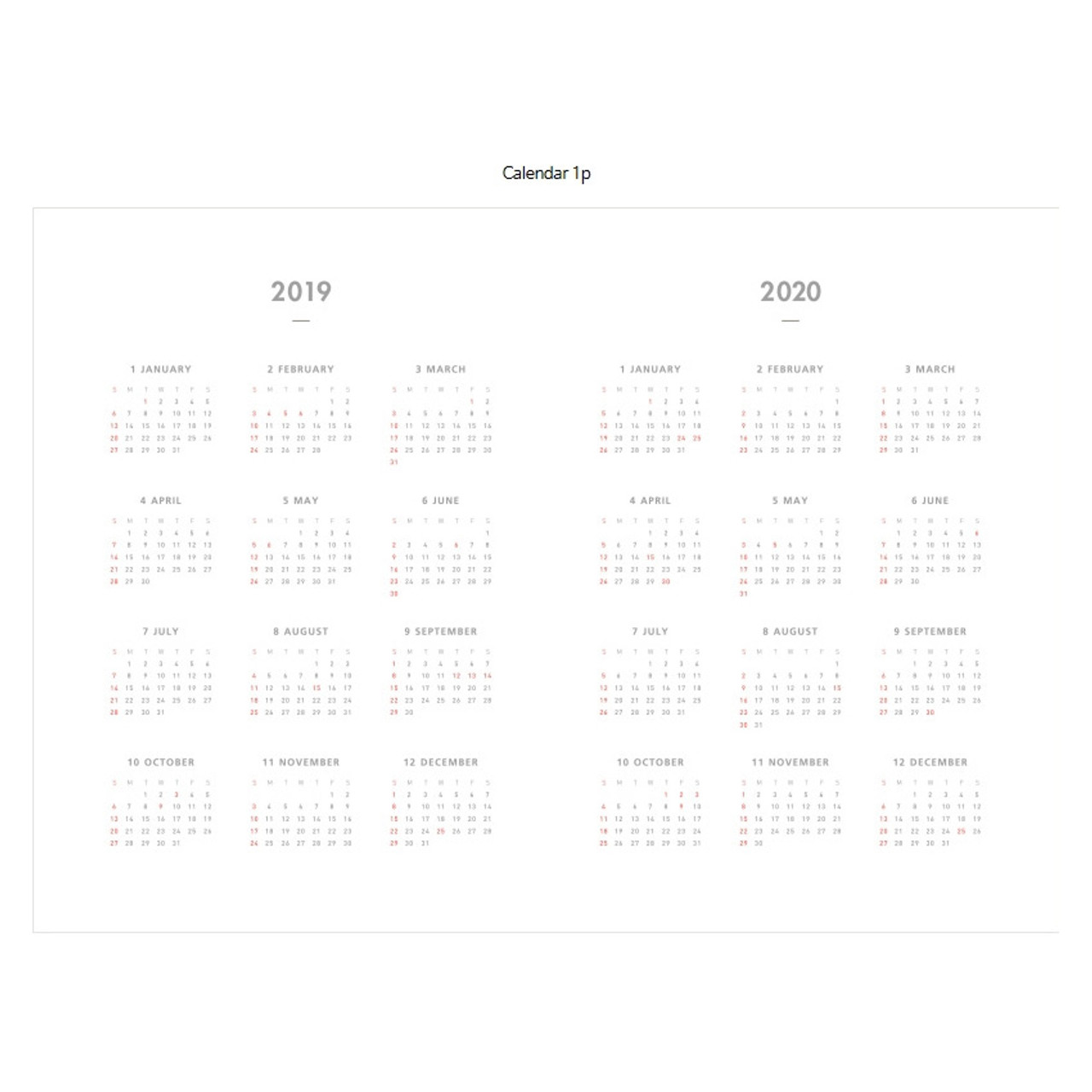 Dailylike 2019 Dual Dated Monthly Desk Planner Scheduler
