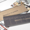 2young Wirebound kraft long dateless weekly desk planner