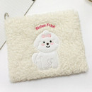 Ivory - With Alice Bichon Frise slim square zip pouch