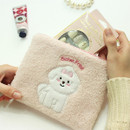 Pink - With Alice Bichon Frise slim square zip pouch