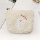 Ivory - With Alice Bichon Frise mini triangle zip pouch