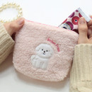 Pink - With Alice Bichon Frise mini triangle zip pouch