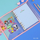 Blue-Pink - Second Mansion Collage A5 6-ring dateless weekly diary