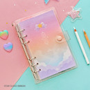 Star cloud ribbon - Twinkle moonlight A6 6 ring dateless weekly diary planner