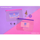 Star space_violet, Moon child - Second Mansion Retro mood 6-ring A5 zip lock pouch bag