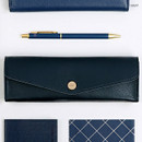 Navy - Monopoly Classy snap button pocket pencil case pouch