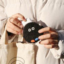 Black PomPom - ROMANE Brunch brother AirPods zipper pouch bag