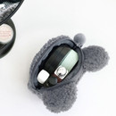 Inside of Furry buddy small cosmetic pouch bag