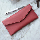 Burgundy - Play Obje Classy synthetic leather wallet pencil case