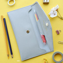 Gray - Play Obje Classy synthetic leather wallet pencil case