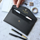 Black - Play Obje Classy synthetic leather wallet pencil case