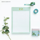 Green flower pot - O-CHECK Vertical B5 Cornell study notes grid notepad