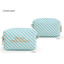 Stripe Mint - Monopoly Cherish every moment small PU zipper pouch case