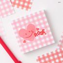 Rose - Wanna This Picnic 6mm check 4 designs memo notepad