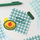 Apple mint - Wanna This Picnic 6mm check 4 designs memo notepad