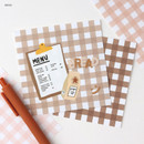 Bread - Wanna This Picnic 6mm check 4 designs memo notepad