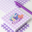 Lilac - Wanna This Picnic 6mm check 4 designs memo notepad