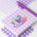 Lilac - Wanna This Picnic 6mm check 4 designs memo notepad