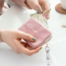 02 Pink - ICONIC Cottony flat zipper card holder case