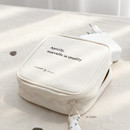01 ivory - ICONIC Cottony gadget and cable organizer zipper bag pouch