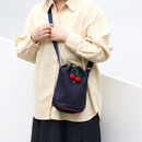 Navy - ROMANE Cherry cotton crossbody bucket bag ver2