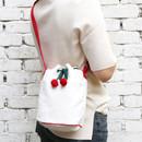 Ivory - ROMANE Cherry cotton crossbody bucket bag ver2